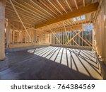 New house construction framing - stock photo