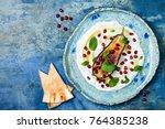 labneh middle eastern lebanese... | Shutterstock . vector #764385238