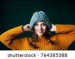 close up portrait of young... | Shutterstock . vector #764385388