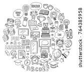 language school kids  chidlren  ... | Shutterstock .eps vector #764385958