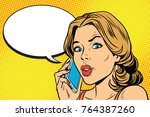 worried woman talking on the... | Shutterstock . vector #764387260