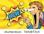 hyper expressive reaction... | Shutterstock . vector #764387314