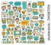 language school kids  chidlren  ... | Shutterstock .eps vector #764387554