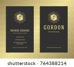 luxury business card and golden ... | Shutterstock .eps vector #764388214