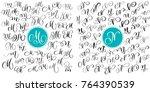 set letter m  n. hand drawn... | Shutterstock .eps vector #764390539
