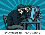 The hacker community, skeletons hacked computers. Pop art retro  illustration - stock photo