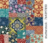 chinese style fabric patchwork...   Shutterstock .eps vector #764397850