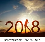happy new year card 2018... | Shutterstock . vector #764401516