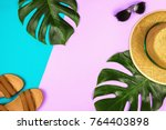 flatlay with monstera leaves ... | Shutterstock . vector #764403898