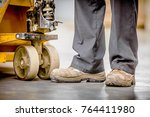 safety boots and trousers of a... | Shutterstock . vector #764411980