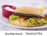 hamburger with chips | Shutterstock . vector #764414794
