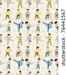 cartoon karate player seamless... | Shutterstock .eps vector #76441567