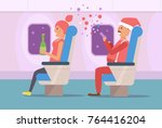 people celebrate new year on... | Shutterstock .eps vector #764416204