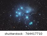 pleiades nebula m45  with... | Shutterstock . vector #764417710