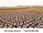 cracked dry land without water... | Shutterstock . vector #764418448