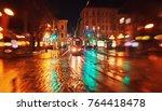 city night street paving stone...   Shutterstock . vector #764418478