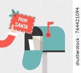 letter from santa. hand holding ... | Shutterstock .eps vector #764421094