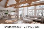 living room of luxury eco house ... | Shutterstock . vector #764422138
