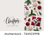 christmas decorative border... | Shutterstock .eps vector #764423998