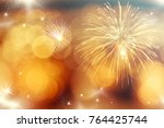 fireworks at new year and copy... | Shutterstock . vector #764425744