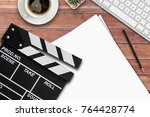 film director's desk. top view... | Shutterstock . vector #764428774