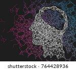 human head network line... | Shutterstock .eps vector #764428936