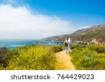 people on hiking trip  in the ... | Shutterstock . vector #764429023