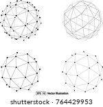 set of abstract 3d faceted... | Shutterstock .eps vector #764429953
