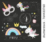 stickers and labels for unicorn ... | Shutterstock .eps vector #764433760