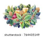 cristmas watercolor composition ... | Shutterstock . vector #764435149