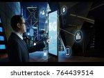 """businessman touching """"5g"""" sign...   Shutterstock . vector #764439514"""