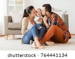 family  parenthood and people... | Shutterstock . vector #764441134