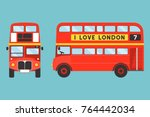 red double decker bus icon... | Shutterstock .eps vector #764442034