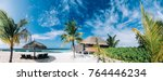 tropical view of exotic resort... | Shutterstock . vector #764446234