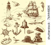 hand drawn nautical collection | Shutterstock .eps vector #76444804