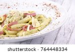 penne with salami and spices | Shutterstock . vector #764448334