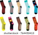 colorful set of socks. vector...   Shutterstock .eps vector #764450413