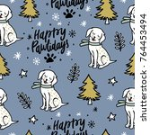 seamless vector christmas... | Shutterstock .eps vector #764453494