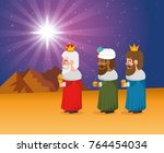 the three magic kings of orient ... | Shutterstock .eps vector #764454034