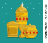 baby jesus gifts from the three ... | Shutterstock .eps vector #764454058