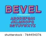 beveled typography design vector | Shutterstock .eps vector #764454376