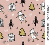 seamless vector christmas... | Shutterstock .eps vector #764455024