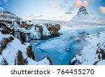 kirkjufell waterfall with... | Shutterstock . vector #764455270