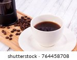 coffee with coffee beans close... | Shutterstock . vector #764458708