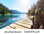 Hike to turquoise waters of picturesque Garibaldi Lake near Whistler, BC, Canada. Very popular hike destination in British Columbia. - stock photo