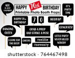set of funny seventieth... | Shutterstock .eps vector #764467498