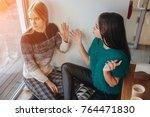 quarrel two friends. two women... | Shutterstock . vector #764471830