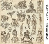 an hand drawn collection.... | Shutterstock . vector #764473846