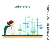 laboratory assistant. woman... | Shutterstock .eps vector #764476888