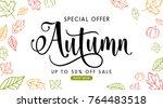 autumn sale background layout... | Shutterstock .eps vector #764483518